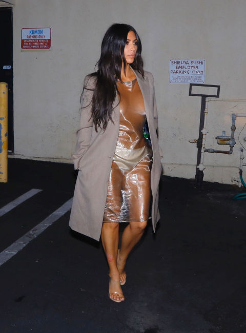 Kim Kardashian bra-less see-through dress